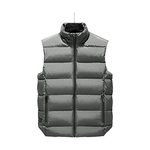 Chaleco calentado para hombre con tira reflectante B de carga lavable, ligero, suave invierno cálido extremo de algodón al aire libre, deportes al aire libre, almohadilla de calefacción camping (gris)
