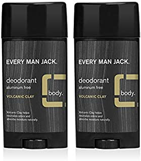 Every Man Jack Men's Natural Deodorant - Volcanic Clay | 2.7-ounce Twin Pack - 2 Sticks Included | Naturally Derived, Alum...