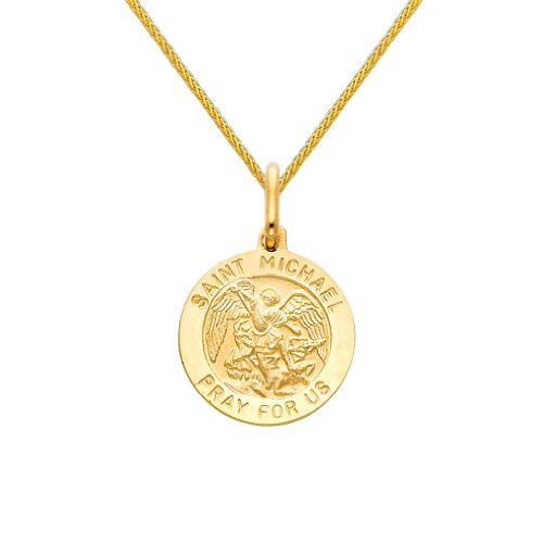 The World Jewelry Center 14k Yellow Gold Religious Saint Michael Medal Pendant with 0.9mm Braided Wheat Chain Necklace - 22'