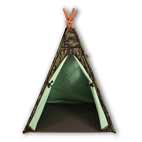 BOSPHORUS Tipi-Zelt für Kinder - Die besten Spielzelte fürs Kinderzimmer, Kinderzelt für Jungen und Mädchen, Spielzeug für Innen- und Außenspiele, Mit Tragetasche ( rot / grün ) (GRÜN)