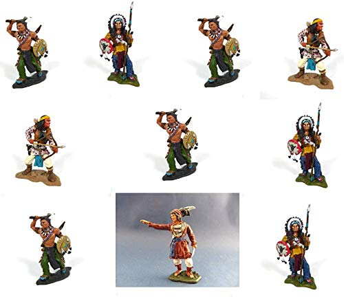 - Los mit 10 indianischen Figuren: Geronimo, Sitting Bull, Morning Star, Osceola aus Metall, 7 cm (indi1)
