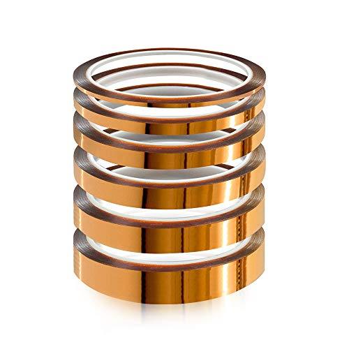 YIXISI 6 pezzi Polyimide Tape Nastro, Nastro Adesivo Resistente al Calore con Adesivo in Silicone, per la Mascheratura, la Saldatura, Schede di sublim