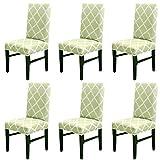 LiveGo Cubierta para Silla, Paquete de 6 Cubiertas para Silla de Comedor elástica Silla con Respaldo Alto Funda Protectora Funda Protectora para Silla, Green+White