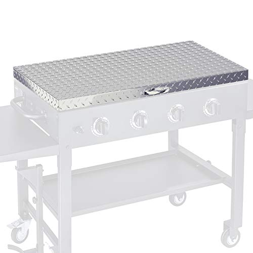 Griddle Cover 36 Inch Works for Blackstone Grill 36in Flat Top Gas Cooking Station Hard Cover Lid with Waterproof Aluminum Diamond Plate Stainless Steel Handle for Outdoor 36inch BBQ Hood Accessories Covers Grill