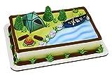 Decopac Fireside Camp DecoSet Cake Decoration Multi, Tent: 3'L x 2.6'W x 1.9'H; Canoe with Oar: 3.5'L x 1.65'W x 1.2'H; Campfire: 1.4'D x 1.2'H