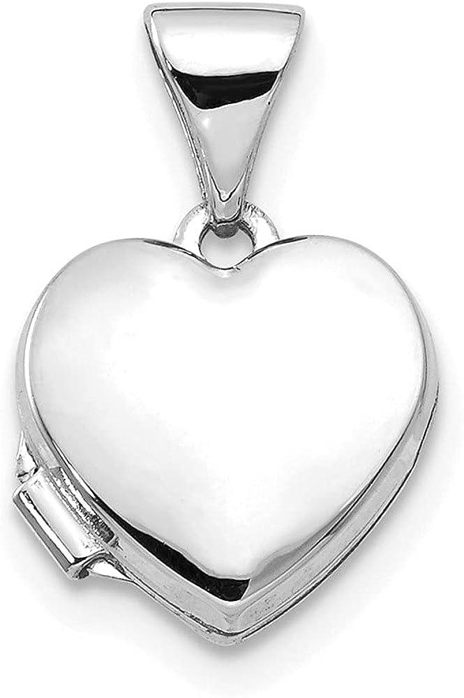 14K White Gold 10mm Heart Shaped LocketPendant