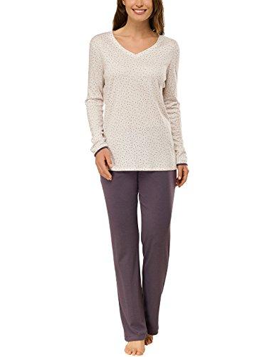 Schiesser Damen Anzug lang Zweiteiliger Schlafanzug, Beige (beige-Mel. 406), 40 (Herstellergröße: 040)
