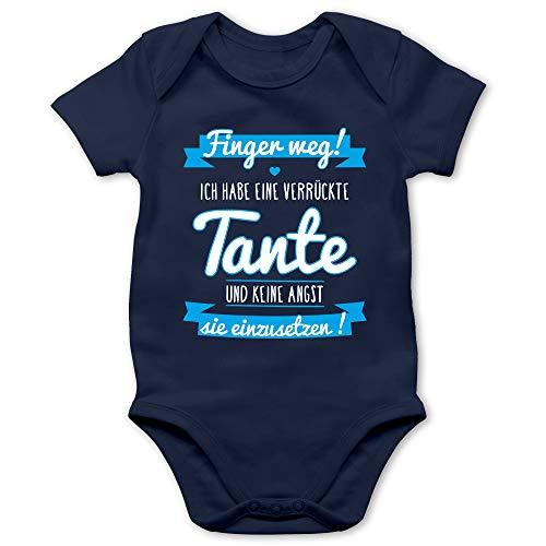 Shirtracer Sprüche Baby - Ich Habe eine verrückte Tante Blau - 12/18 Monate - Navy Blau - Babystrampler Neugeborene - BZ10 - Baby Body Kurzarm für Jungen und Mädchen