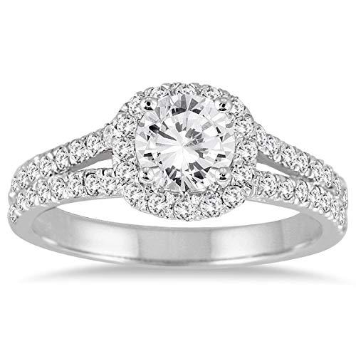 AGS Certificado 11/4Carat TW Blanco Anillo de compromiso de diamantes en oro blanco de 14K (J-K color, claridad I2-I3)