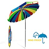 Best Beach Umbrella 8fts - 690GRAND Giant Heavy Duty 8FT Rainbow Beach Umbrella Review
