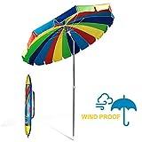 690GRAND Giant Heavy Duty 8FT Rainbow Beach Umbrella with Crank...