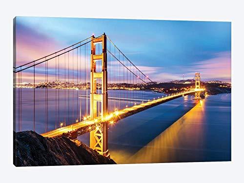 Golden Gate Bridge At Dawn, moldura de São Francisco, pintura em tela, decoração de casa para sala de estar, quarto