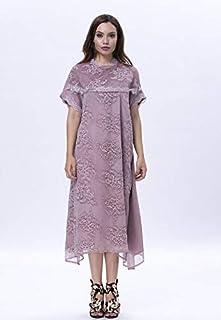 Opera Cotton Straight Dress for Women, Purple - 1713221