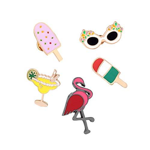 ZSCZQ Mini broches de Dibujos Animados Pines de Esmalte Gafas de Sol Jugo Flamingo Helado Chaquetas de Mezclilla Pin de Solapa Insignias Joyas para Mujeres Niños Regalo Flamingo