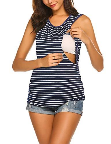 Unibelle Damen umstands top Stills Shirt Kleid schwanger Mutter Baumwolle Umstandsmode Streifen, B_marineblau, S