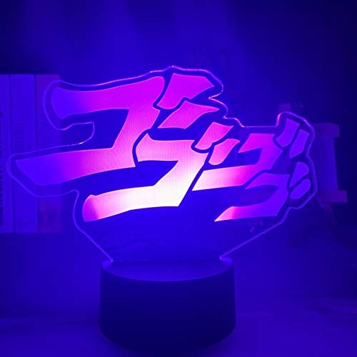 Anime Jojos Bizarre Adventure Letter Design Led Night Light Touch Sensor Colorful Night Light for Home Decor Table 3D Lamp Gift, 16 Color with Remote, DM72