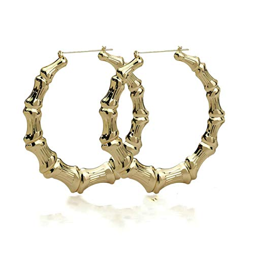 Edelstahl Bambus-Reifen Rennen Hängende Ohren Frauen Große Kreis Runde Ohrringe Charmantes Reifen Ohr Ear Ohr Gold Schmuck Geschenk TINGG (Color : 1)