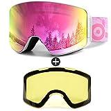 Odoland Ski Goggles Set with Detachable Lens, Frameless Interchangeable Lens, Anti-Fog 100% UV Protection Snow Goggles for Men and Women, Helmet Compatible - White Frame+52% Mirror Pink