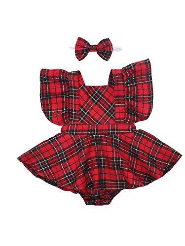 Geagodelia - Conjunto de 2 piezas para bebé, diseño escocés, color rojo, de manga con mosca y diadema + disfraz para Navidad, regalo para cumpleaños de niña