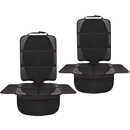 QUEES Kindersitzunterlage Auto 2 Stück, Autositzauflage Autositzschoner kindersitz mit rutschfester Polsterung und Organizer Taschen, ISOFIX geeignete