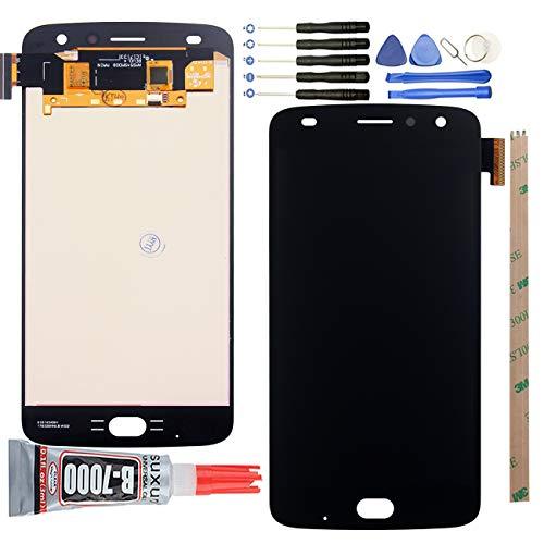 Ocolor - Schermo LCD per Motorola Moto Z2 Play + kit di digitalizzatore touch screen di ricambio per schermo rotto, colore: Nero