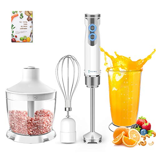 TSYMO 800W Hand Immersion Blender, 4-in-1 Hand Blender with 6-Speed + Turbo, 304 Stainless Steel Stick Blender, Mixing Cup, Food Chopper, Whisk Attachment for Smoothies, Puree Baby Food, BPA-Free