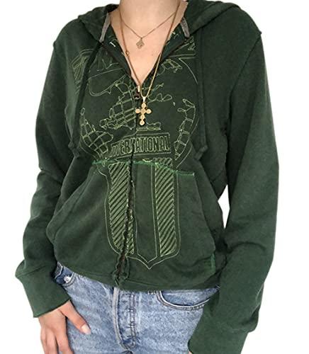 MISSACTIVER Women's Y2K Face Portrait Zip Up Hoodies Aesthetic Vintage Graphic Printed Sweatshirts E-Girl 90s Jacket Tops Green