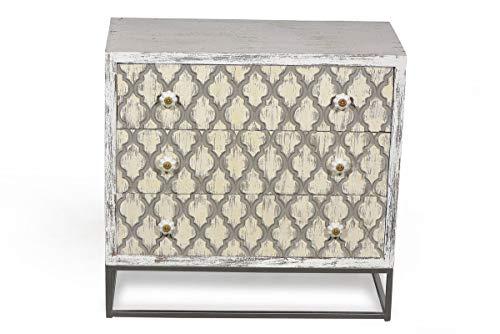 Sit Möbel Mahal Kommode Mango + Metall L = 75 x B = 36 x H = 72 cm antikweiß mit beige/schwarzer Front