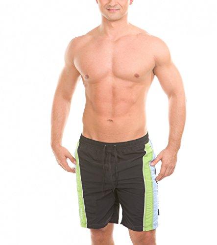 Aqua-Speed® Victor - Pantaloncini da bagno da uomo, taglie S-XXL, bermuda, pantaloncini da bagno, Uomo, Victor – Nero/Verde/Blu, XL