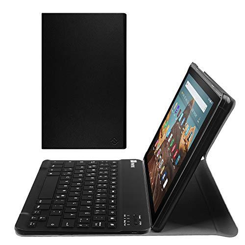 Fintie Bluetooth Tastatur Hülle für Fire HD 10 (9. & 7. Generation - 2019 & 2017) - Superdünn Ständer Schutzhülle mit magnetisch abnehmbar drahtloser Deutscher QWERTZ Tastatur, Schwarz