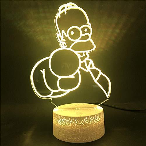 Lámpara De Ilusión 3D Luz De Noche Led Los Simpson Único Para Niños Regalo De Cumpleaños Para Decoración De Dormitorio Lámpara De Escritorio Con Batería Usb Los Simpson