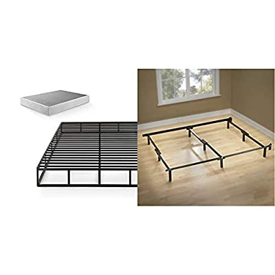 Zinus 9 Inch Quick Lock High Profile Smart Box Spring/Mattress Foundation/Strong Steel Structure, Queen & Michelle… - Product 1: HASSLE & HEADACHE FREE - The Victor comes together with easy-to-follow instructions, fewer bolts and absolutely no headaches; assembly that's intuitive and packaging that seems to defy the laws of physics - now that's what we call a new-age box spring Product 1: DURABLY ENGINEERED - A durable steel frame is used to construct the interior framework of this foundation; slats are spaced 2.9 inches apart; twin size supports a maximum weight capacity of 250 lbs, while all other sizes can support up to 500 lbs Product 1: HIGH PROFILE DESIGN - A 9 inch height is perfect for shorter mattresses or for those who enjoy their bed higher off the floor - bedroom-furniture, bedroom, bed-frames - 41E27Lov2KL. SS400  -