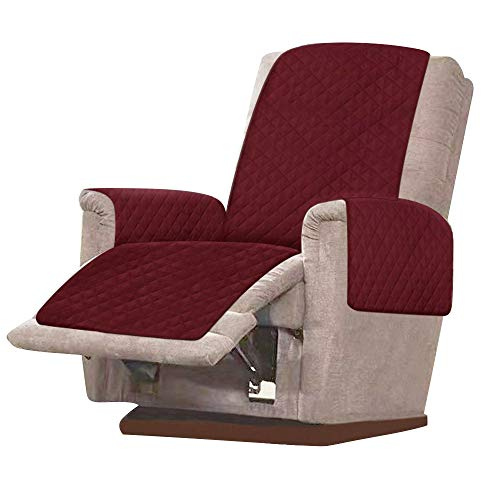 Sesselschoner Sesselauflage Anti-Rutsch 1 Sitzer Sesselauflage Relaxsessel Sofaschone mit 2.5 cm Breiten Verstellbaren Trägern für Schonbezug Möbelschutz (Rot)