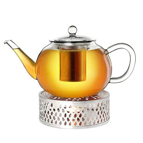 Creano Teekanne aus Glas 1,6l + EIN Stövchen aus Edelstahl, 3-teilige Glasteekanne mit integriertem Edelstahl Sieb und Glasdeckel, ideal zur Zubereitung von losen Tees, tropffrei