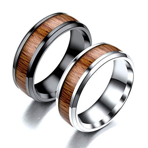Ubestlove Matching Rings for Best Friends Ring with Wooden Rings for Teenage Girls Silver Black P½ N½