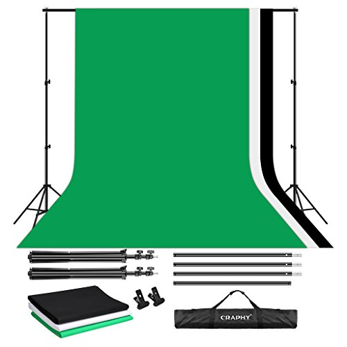 CRAPHY Upgraded Portable Photo Studio 10 x 6.5ft Background Stand Kit Backdrop Support System with Silk Cotton Background (Green Black White, 9ft x 6ft) and Carrying Bag