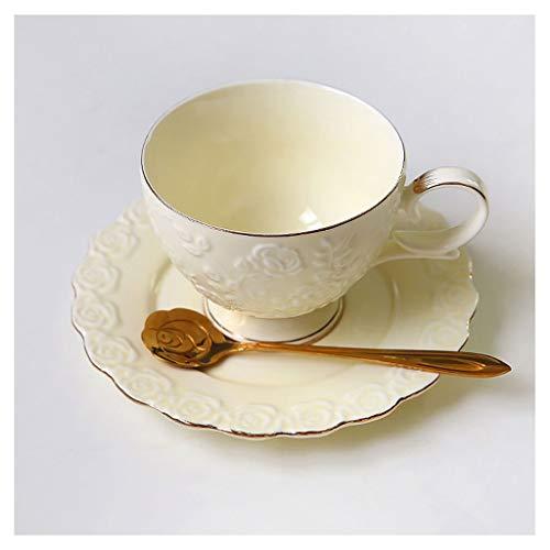 Tazas De lujo de Europa de cerámica taza de café y platillo exquisito conjunto en relieve de la tarde Inglés Copa del hogar taza de café y platillo con la cuchara Tazas de Café ( Color : Beige )