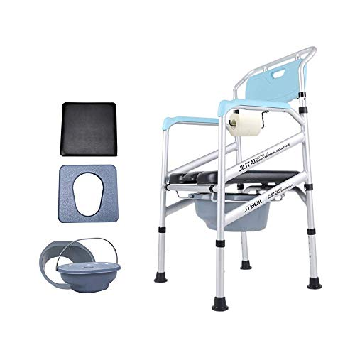 GAXQFEI Tragbarer Kommodenstuhl, Höhenanpassung, Folding-Wc-Sitz, Medizinische Hilfe, Schweres Gewicht 500 Pfund, Geeignet Für Senioren, Schwangere, Patienten, Behinderte,Weiches Lederkissen