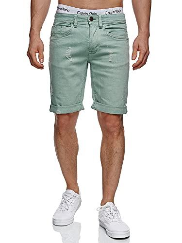 Indicode Pantalones vaqueros cortos para hombre con 5 bolsillos, de 98 % algodón, pantalones vaqueros cortos elásticos, aspecto desgastado, corte regular verde (granite green) M