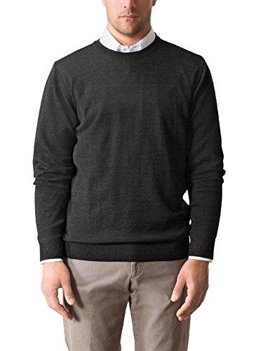 Walbusch Herren Merino Mix Rundhals Pullover einfarbig Anthrazit 48