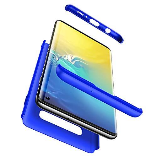 Karomenic 360 Grad Hülle + Panzerglas kompatibel mit Samsung Galaxy S10 Hart PC Schutzhülle 3 in 1 Full Body Rundumschutz Stoßfest Ganzkörper Bumper Handyhülle Hardcase Cover,Blau