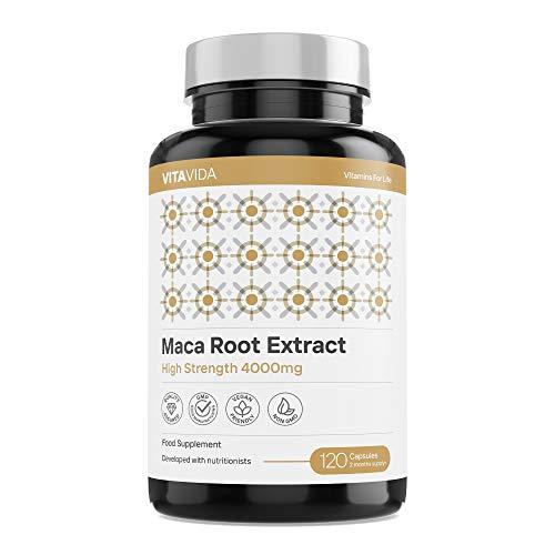 Maca Root Capsules 4000mg - High Strength 120 Vegan Capsules - Energy, Performance, & Mood Supplement - 4 Month Supply Made in The UK by Vita Vida