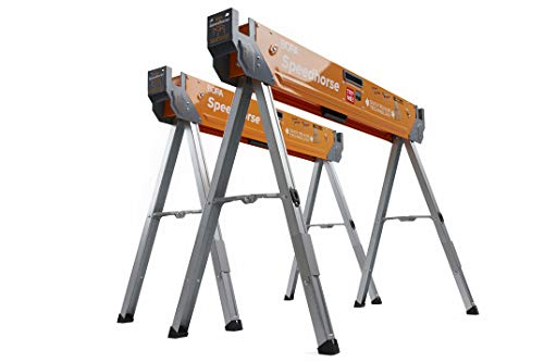 Bora Portamate Speedhorse Sawhorse Pair– Two Pack, Table Stand with Folding Legs, Metal Top for 2x4, Heavy Duty Pro Bench Saw Horse for Woodworking,...