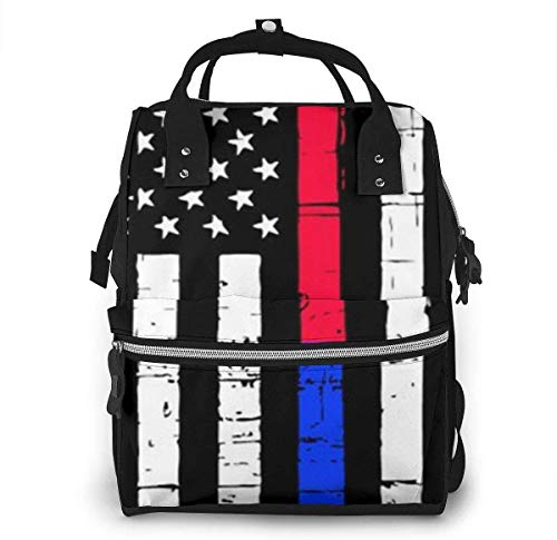 Diaper Bag Backpack Travel Bag Large Multifunction Waterproof Thin Red & Blue Line American Flag Stylish and Durable Nappy Bag for Baby Care School Backpack