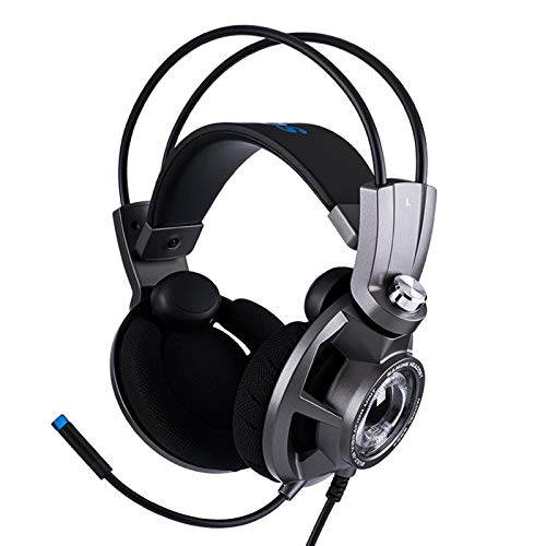 electronic product 7.1 Surround Gaming Headphones,With Noise Canceling Mic & Magnetic Coil LED Light USB Headset,for PC/PS4/Xbox Intelligent Vibration Engine Headphones(Silver Gray) RY
