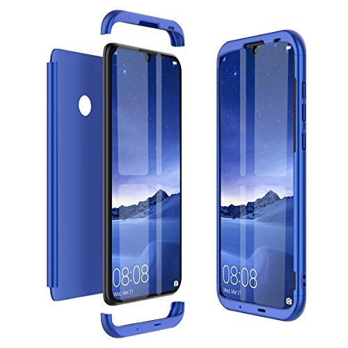 Kompatibel mit Huawei Honor 10 Lite Hülle Hardcase 3 in 1 Handyhülle 360 Grad Schutz Ultra Dünn Slim Hard Full Body Case Cover Backcover Schutzhülle Bumper - Blau