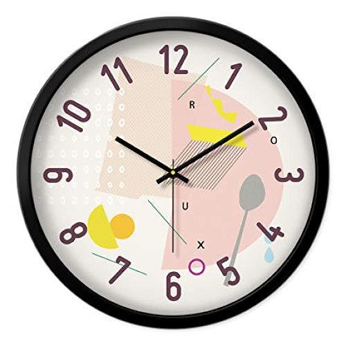 FPRW prachtige persoonlijkheid dubbele bel wekker, mute minimalistische nachtkastje, lichtgevende ringtone wekken snooze tafel klok, stijl 2 zwart frame
