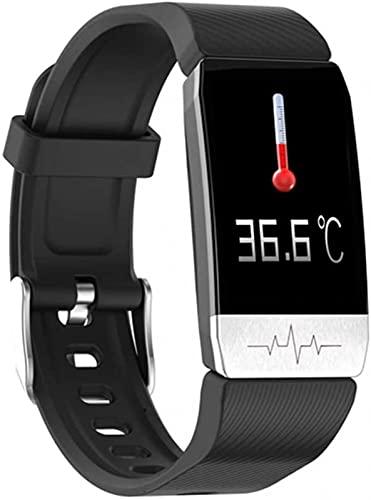 l b s Reloj Inteligente Temperatura Corporal ECG Fitness Reloj Monitor de Ritmo Cardíaco Control de Música Banda Deportiva Smartwatch para Ios Android (B)