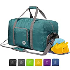 """--- Packable and Roomy --- This duffle can be fast folded into itself with a compact size of 9.5"""" x 9.5"""" x 2"""", only 1/20 of a regular size luggage. It takes a little space while have up-to 60 Litre capacity to be used as a backup bag in case your sui..."""