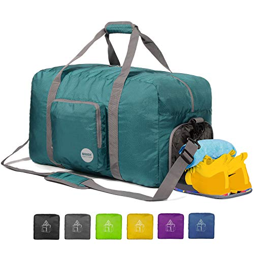 WANDF 24' Foldable Duffle Bag 60L for Travel Gym Sports Lightweight Luggage Duffel 24 inches (60 Liter), Dark Green 24'